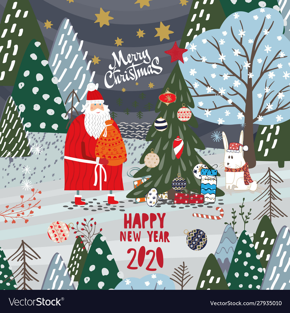 Merry Christmas Images And Happy 2020 Cards Merry christmas and a happy new year 2020 card Vector Image