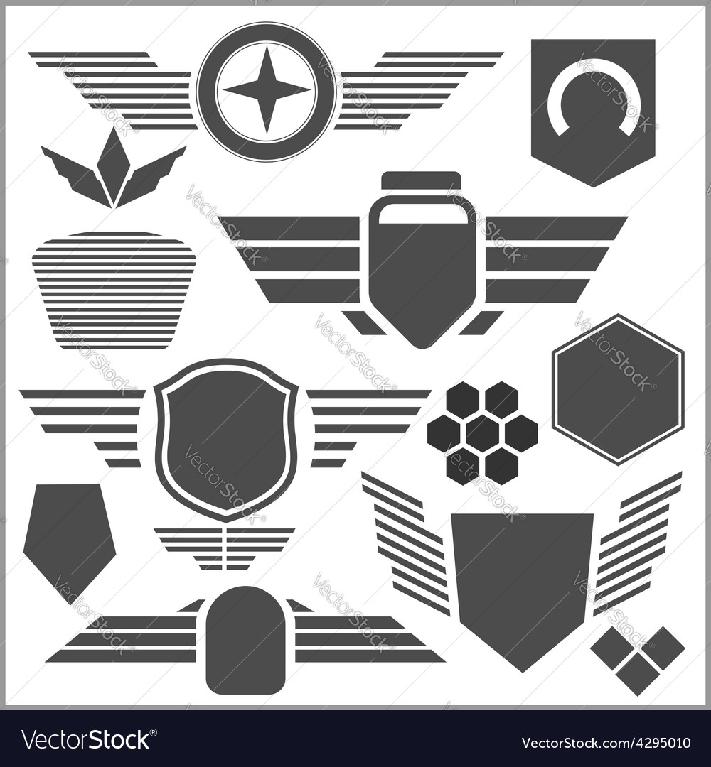 Military Symbol Icons Set Royalty Free Vector Image