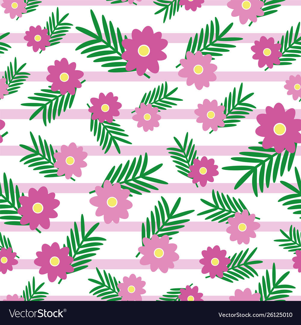 Pink Cute Flowers And Leaves On Light Pink Stripes