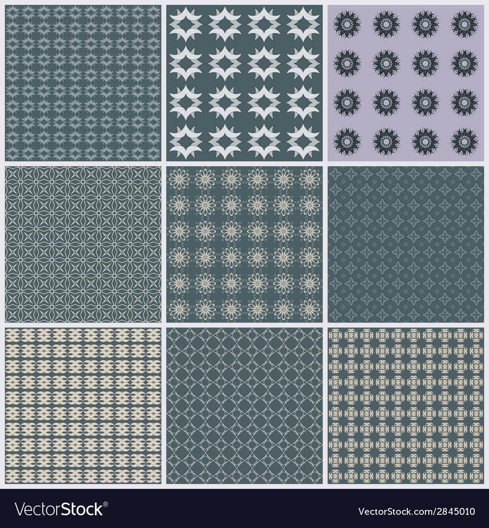 Seamless pattern background set elegant texture vector image