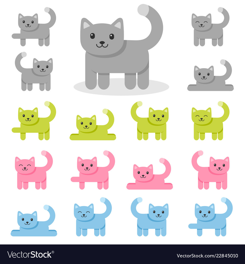 Set colorful cat icons isolated on white
