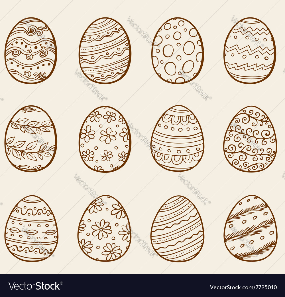 Set of hand drawn doodle Easter eggs