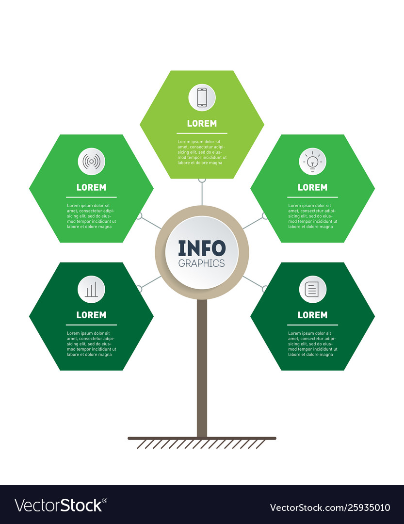 Vertical green timeline infographics eco business