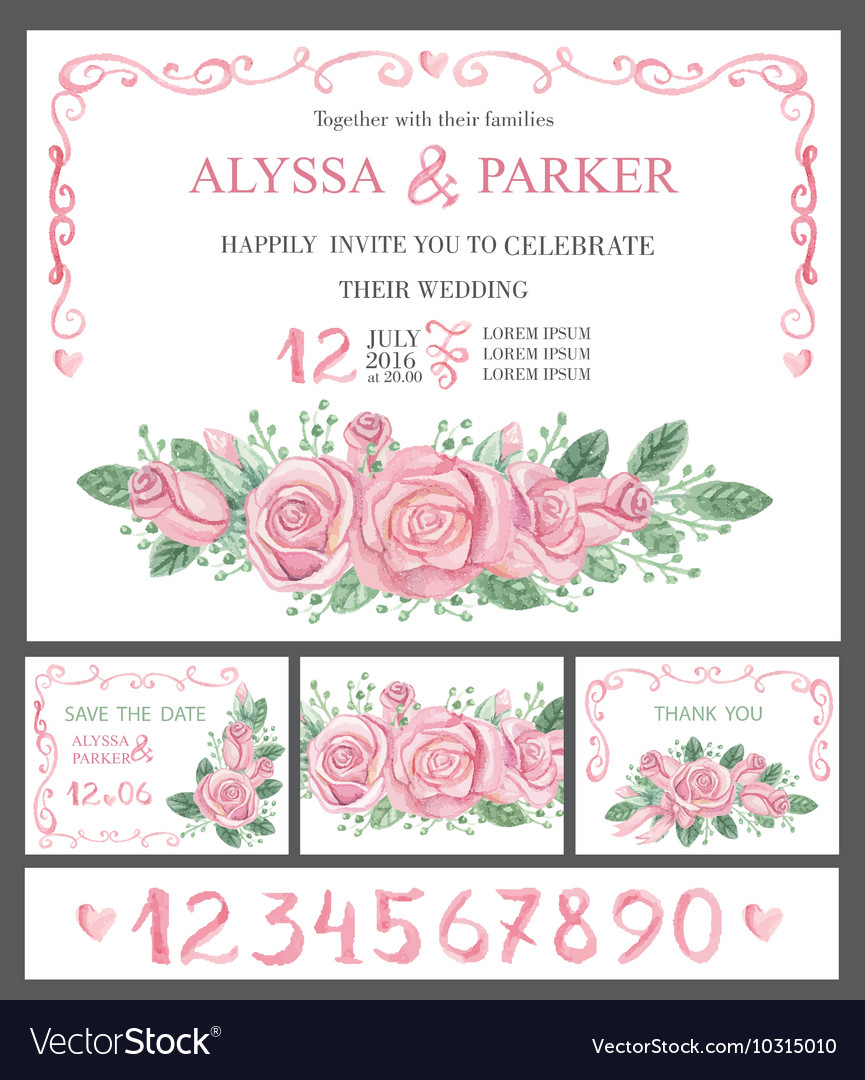 Wedding invitation cards setWatercolor pink roses vector image