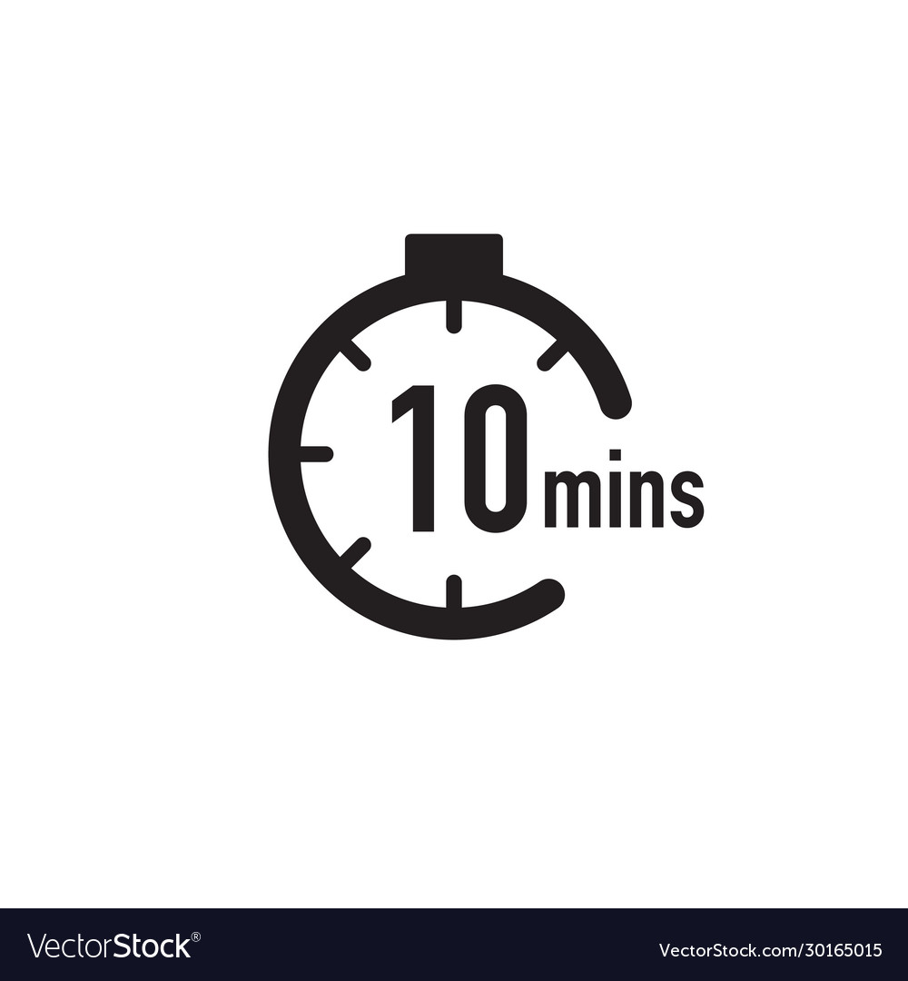 10 Minutes Timer Stopwatch Or Countdown Icon Time Vector Image