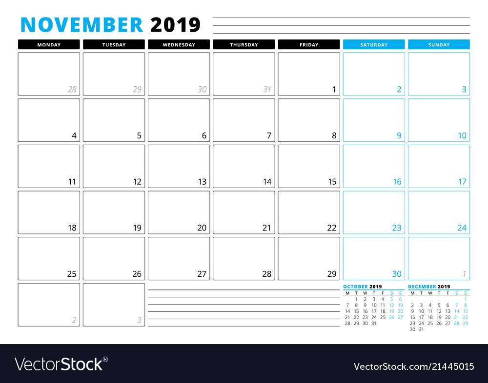 Calendar Template For November 2019 Business Vector Image