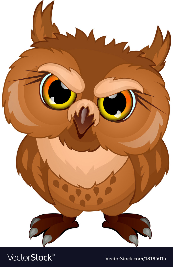 Cartoon owl in evil mood emotional bird character Vector Image