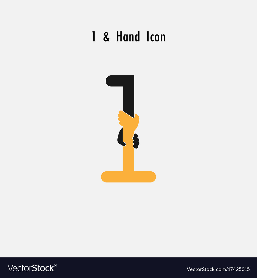 Creative 1- number icon abstract and hands icon