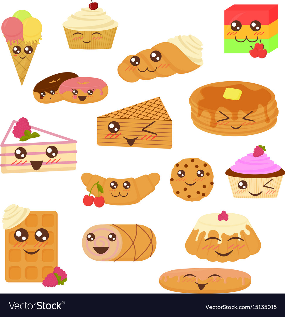 Cute bakery goods in flat