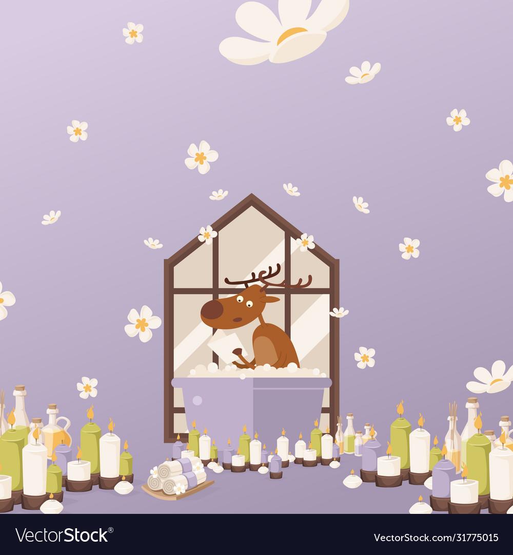 Deer relax in bathroom