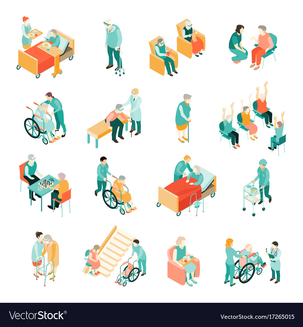 Elderly people nursing home isometric set vector image