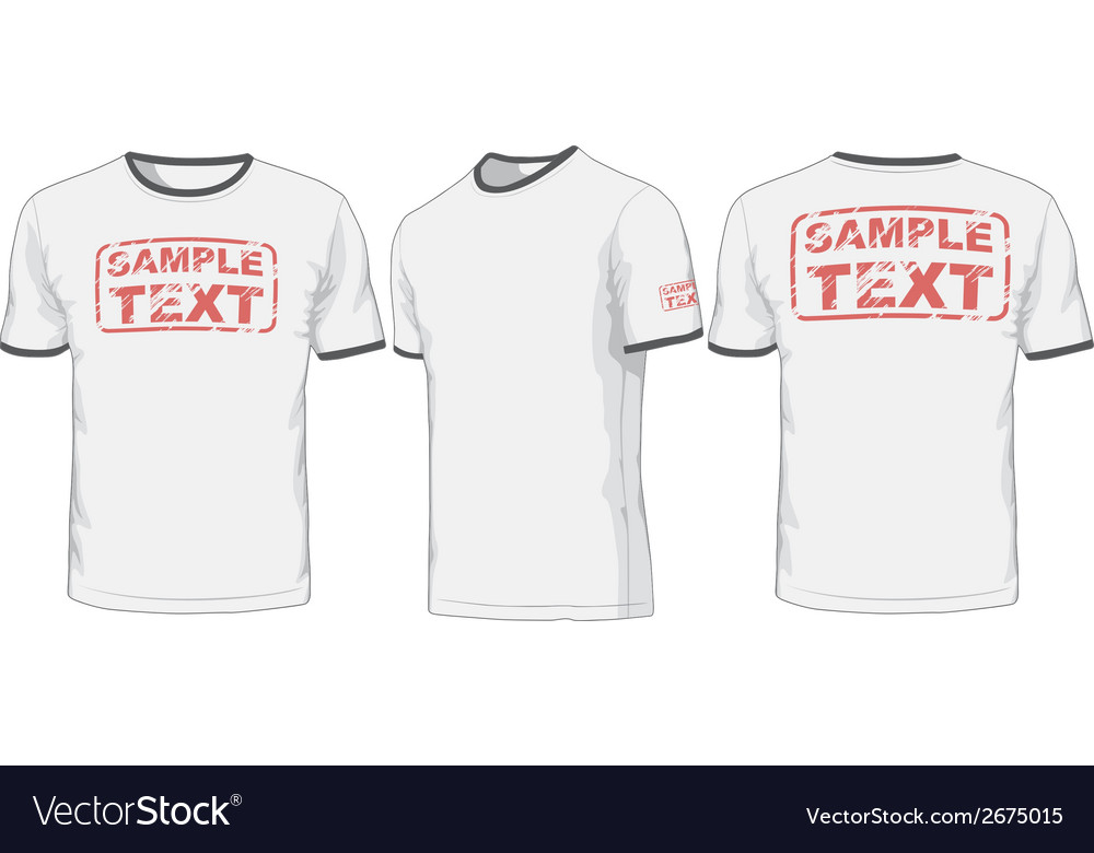 Front back and side views of t-shirt vector image