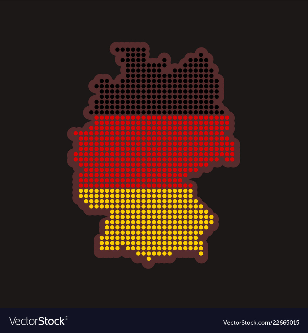 Germany dotted map in colors of flag on black