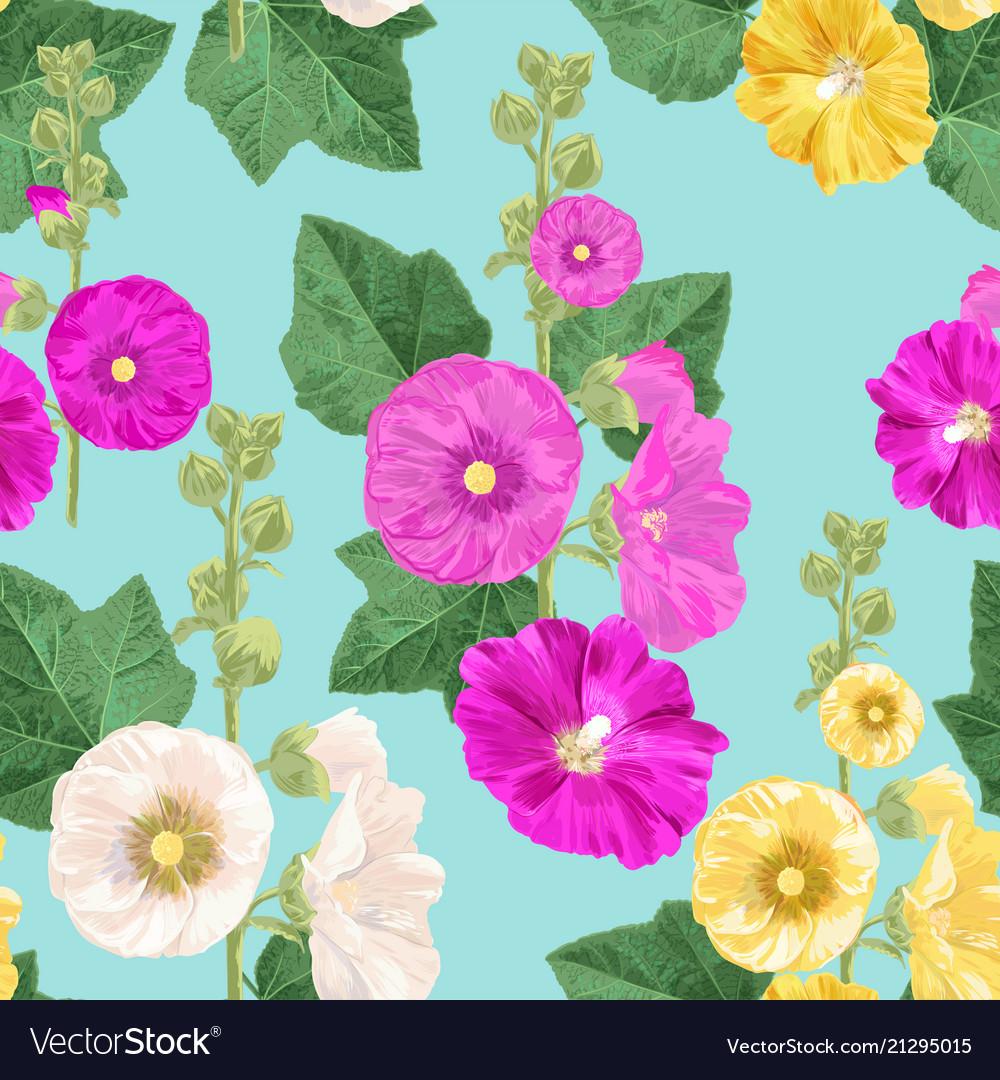 Malva flower seamless pattern floral background