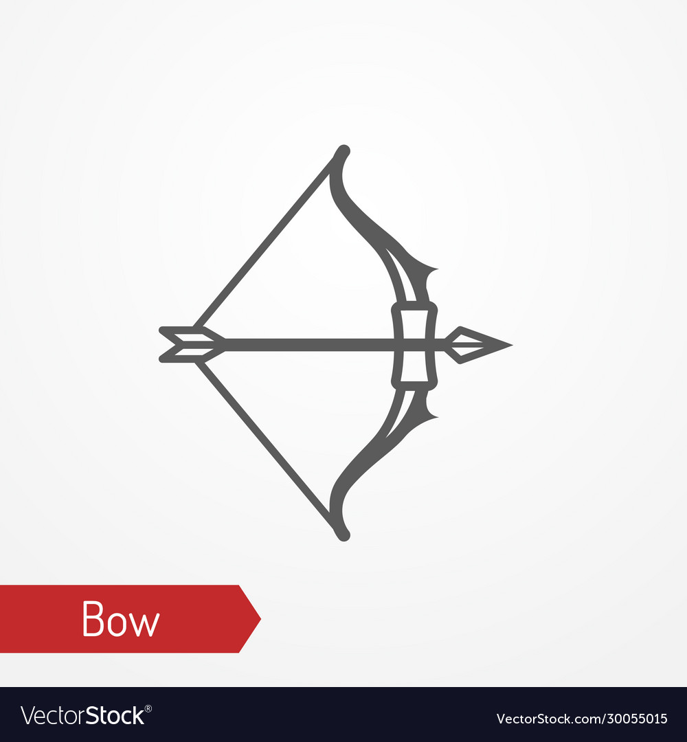 Medieval bow with arrow silhouette icon