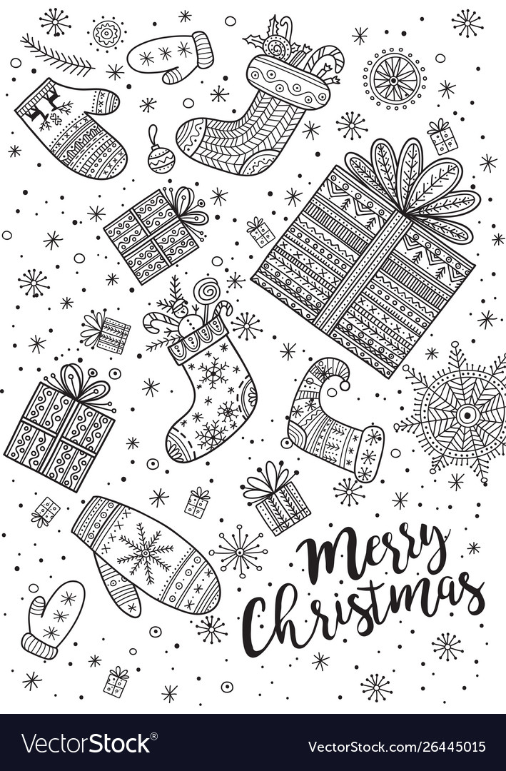 - Merry Christmas Coloring Page In Boho Style Vector Image