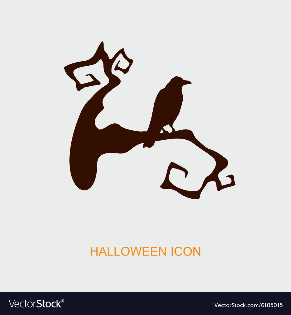 Raven on a branch halloween icon