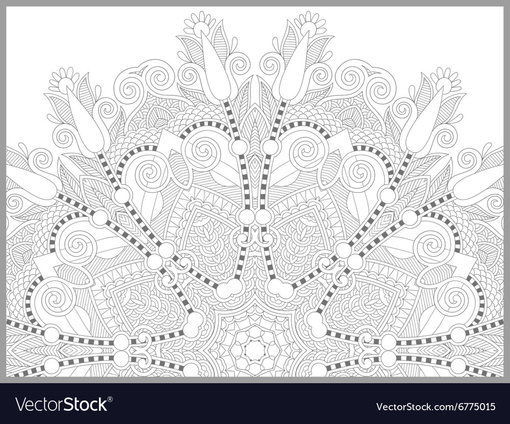 Unique Coloring Book Page For Adults Flower Vector Image