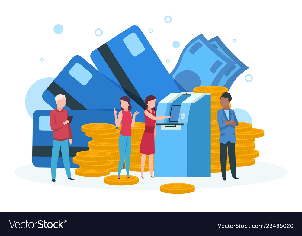Atm business concept customers with credit card
