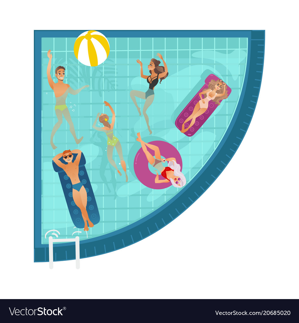 Cartoon people in swimming pool blue