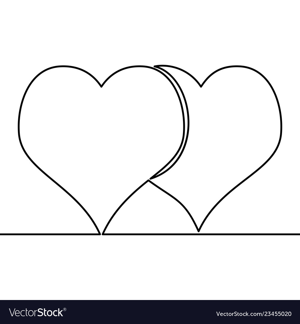 Continuous line drawing two hearts love concept