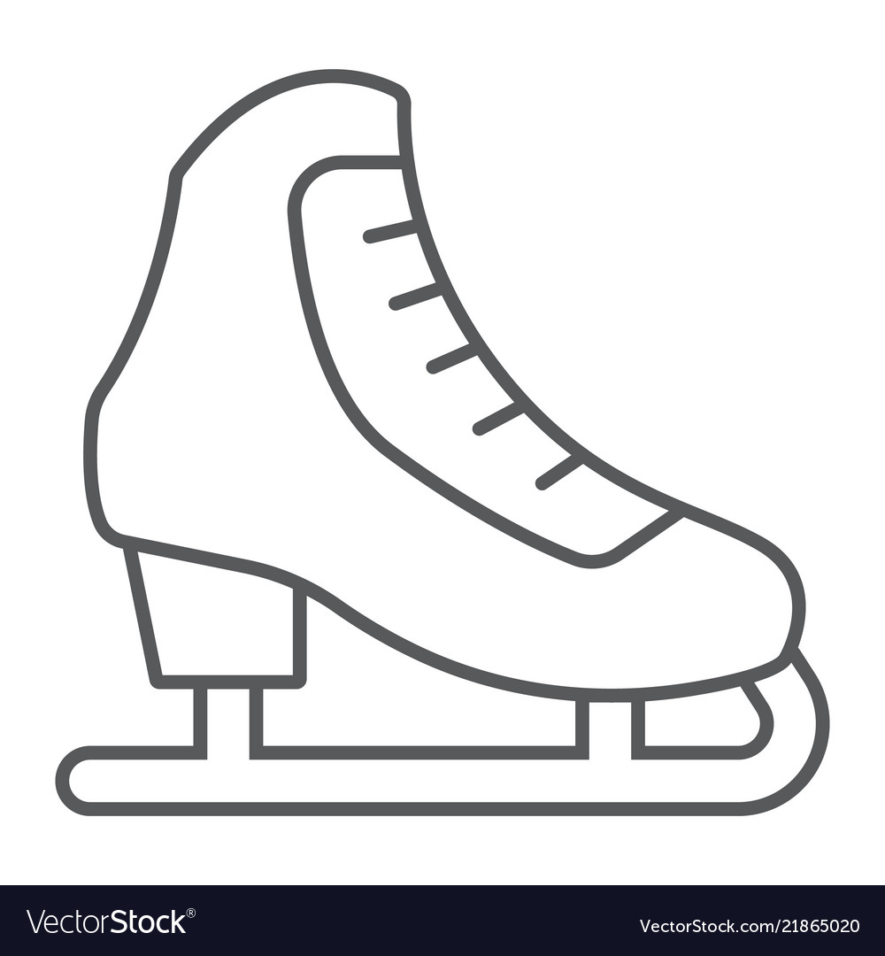 Figure skating thin line icon activity and sport