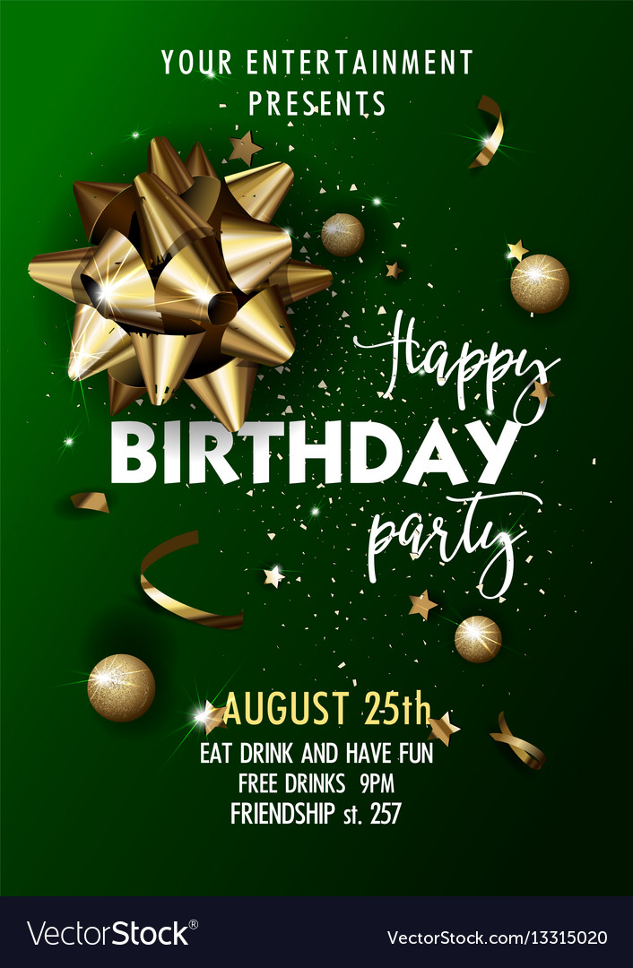 Happy Birthday Invitation Poster Template