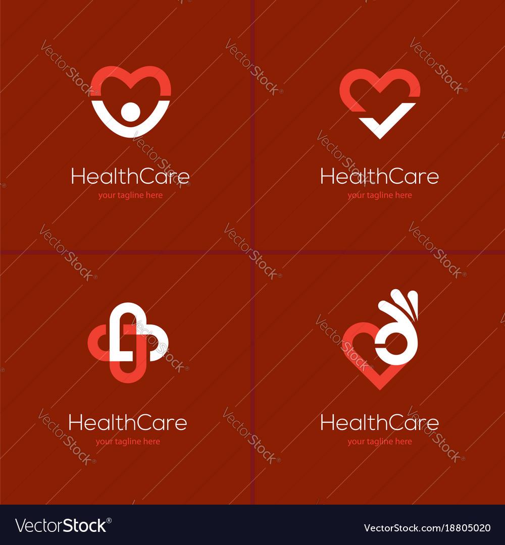 Health care logo set with heart shape