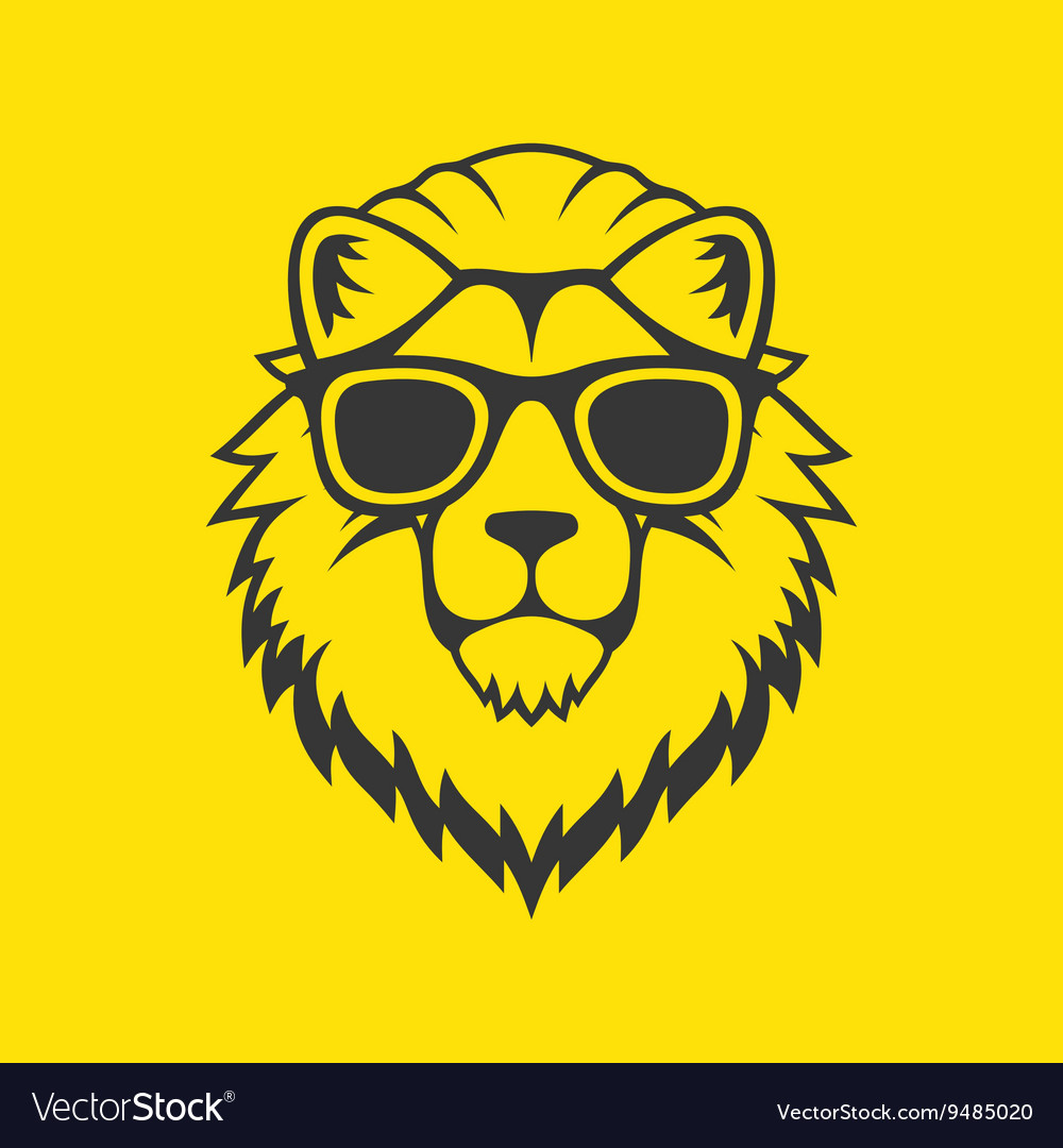 Hipster Style Lion Head Logo in Glasses