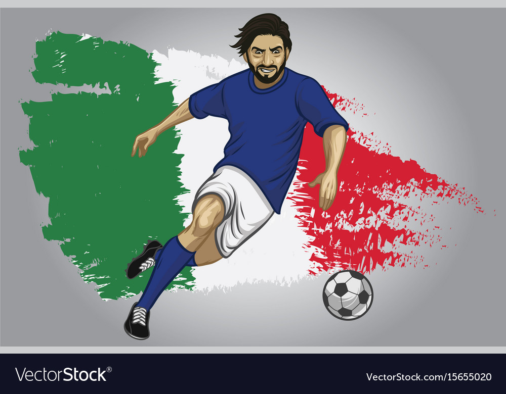 Italy soccer player with flag as a background