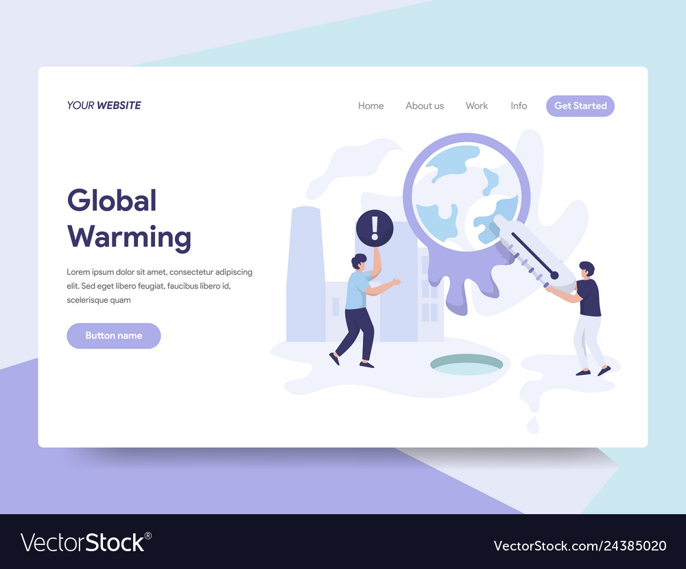 Landing page template of global warming concept