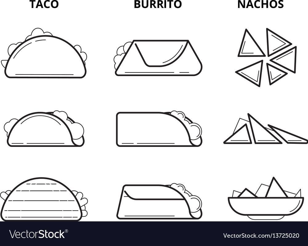 Mexican cuisine food taco burrito and nachos vector image