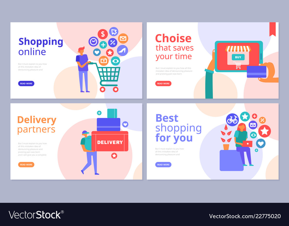 Online shopping concept banners