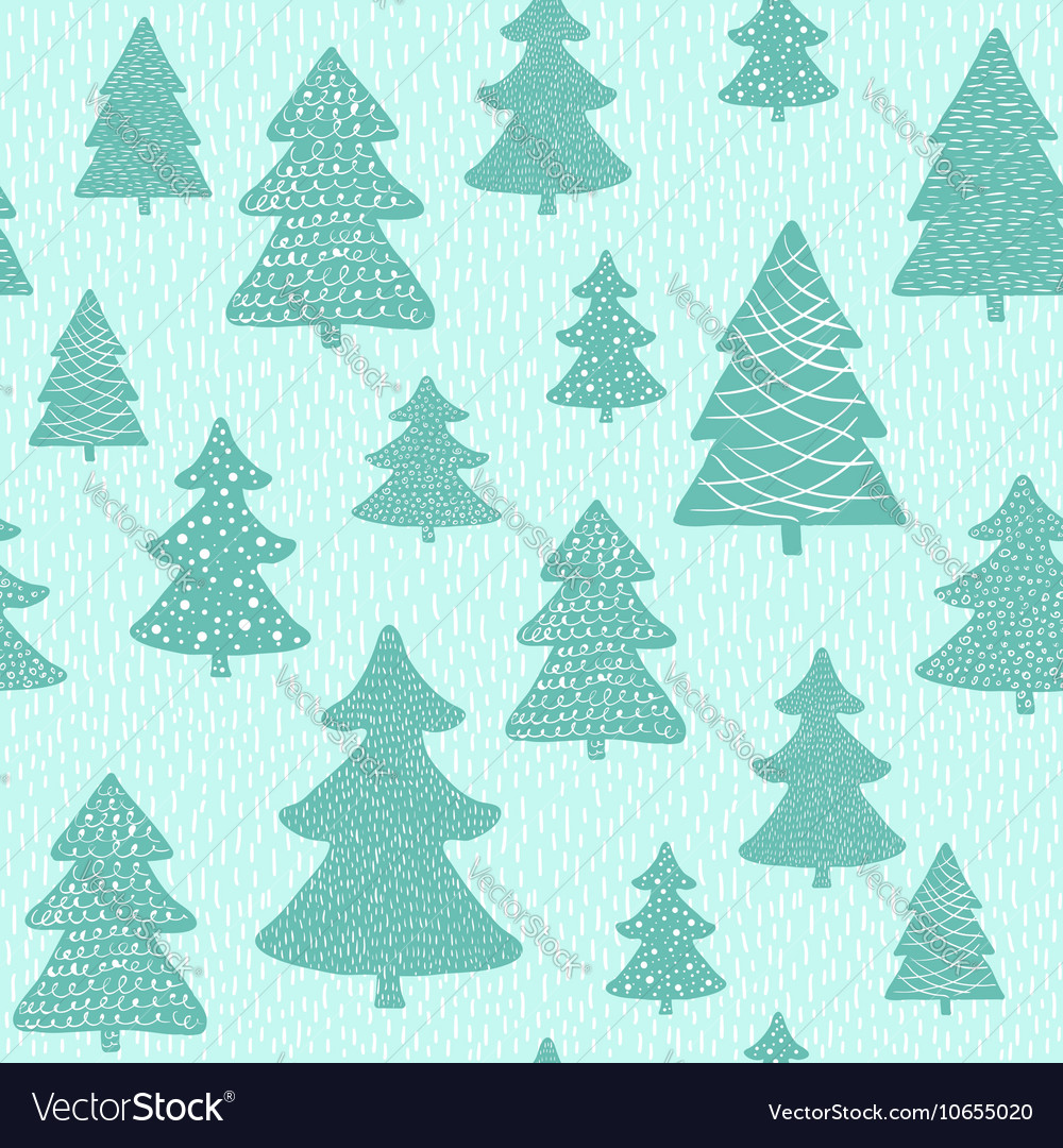 Seamless pattern with hand drawn christmas trees