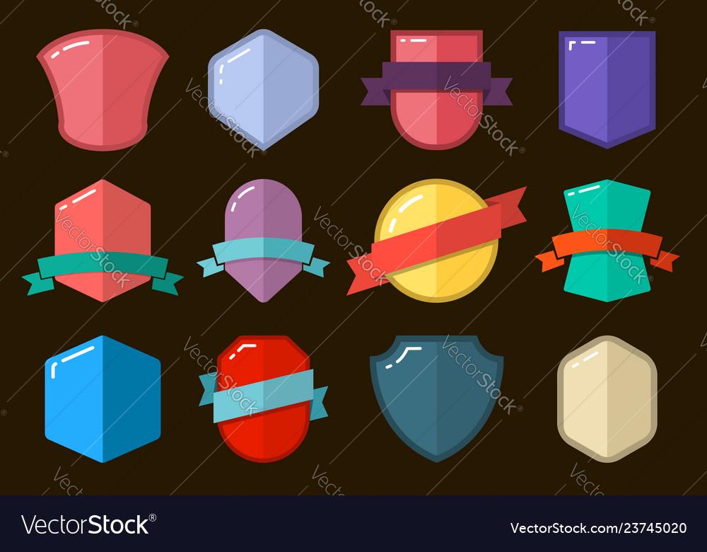 Set of empty flat style badges design element for