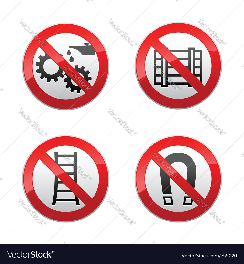 Set prohibited signs - technical symbols