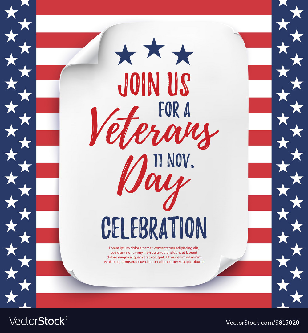 Veterans Day party celebration invitation poster Vector Image