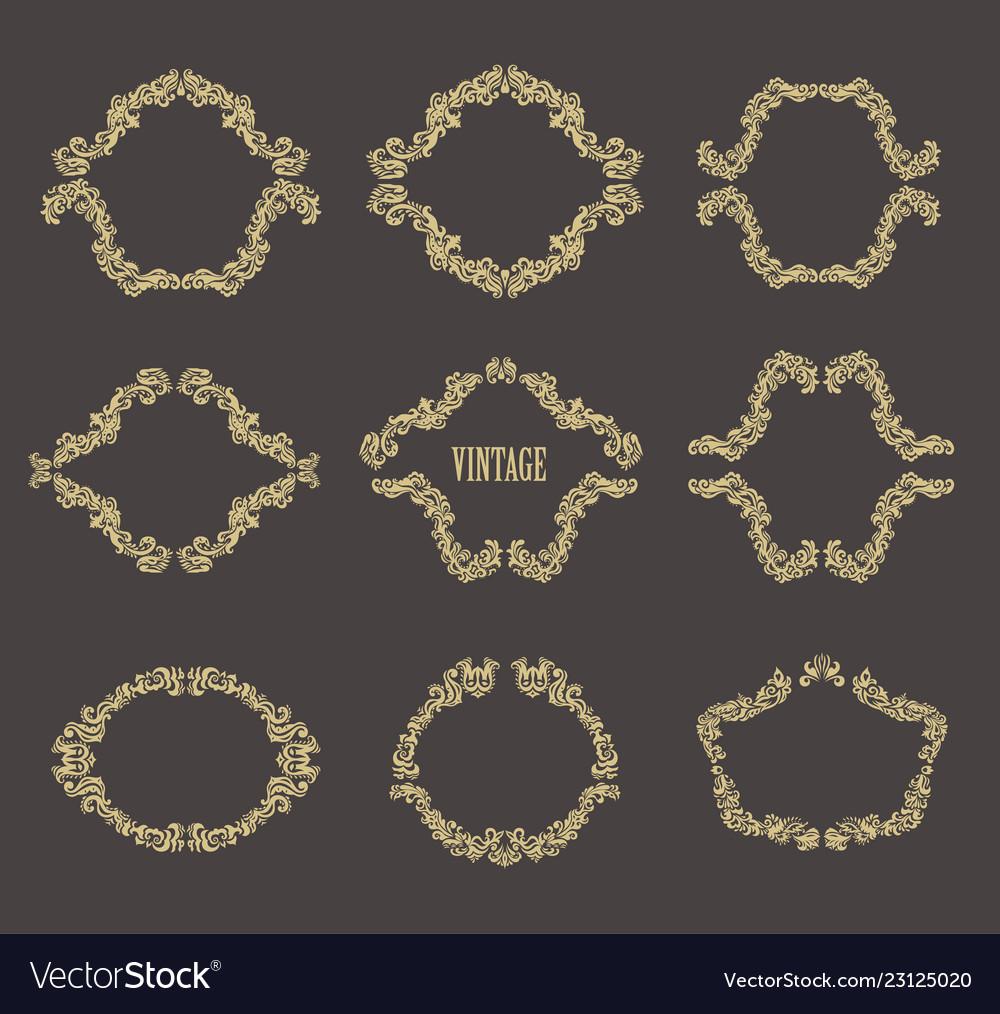 Vintage floral frames set of gold borders