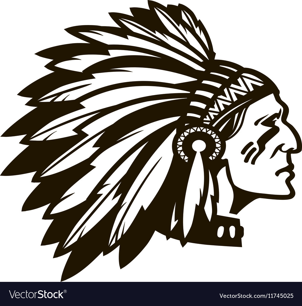 american indian chief logo or icon royalty free vector image rh vectorstock com Indian Mascots and Logos Indian Chief Head Logo