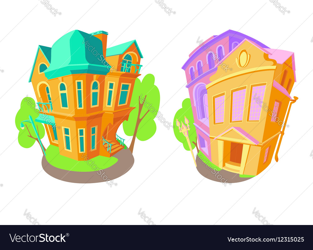 Bright flat volume icons of old houses in vector image