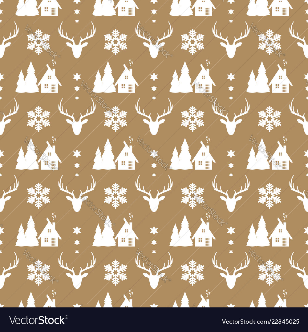 Christmas seamless pattern with deer snowflake