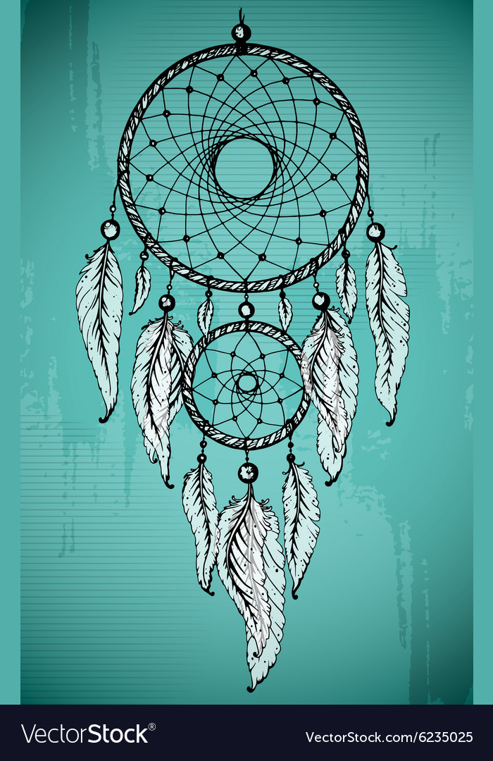 Hand drawn dream catcher with ornamental feathers