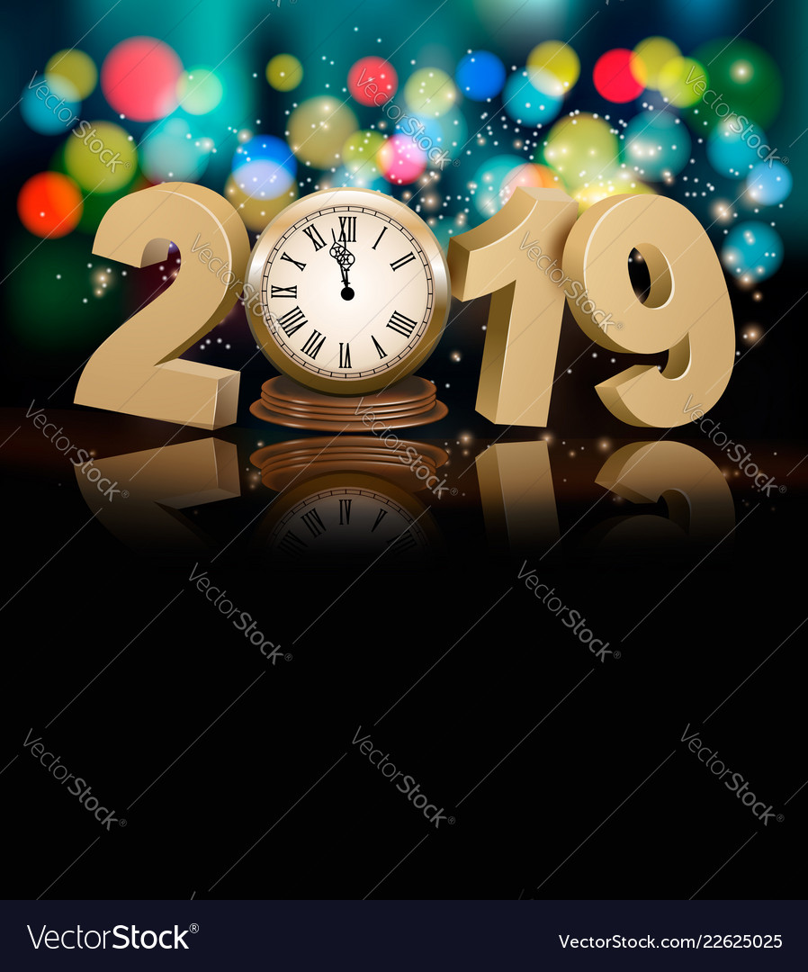 Happy new year holiday background with 2019 a