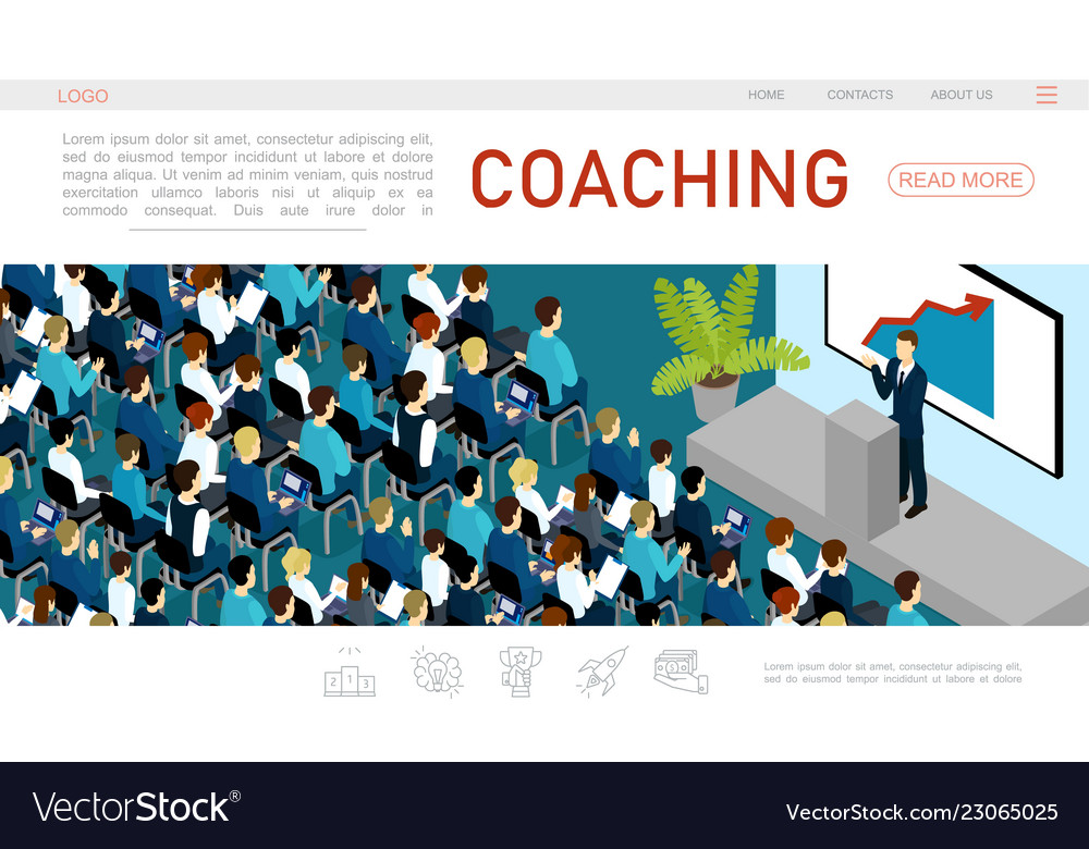Isometric Business Conference Web Page Template Vector Image