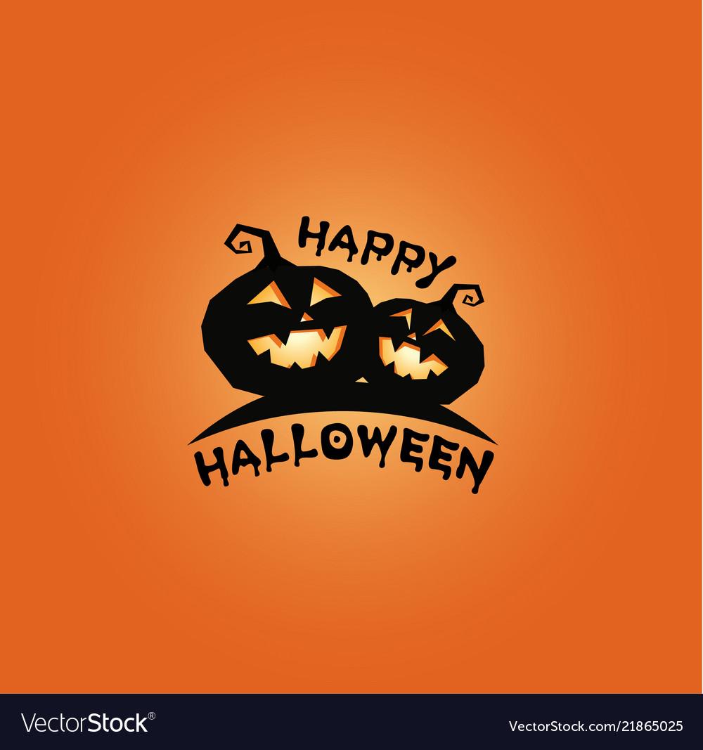 Pumkins black silhouette happy halloween banner