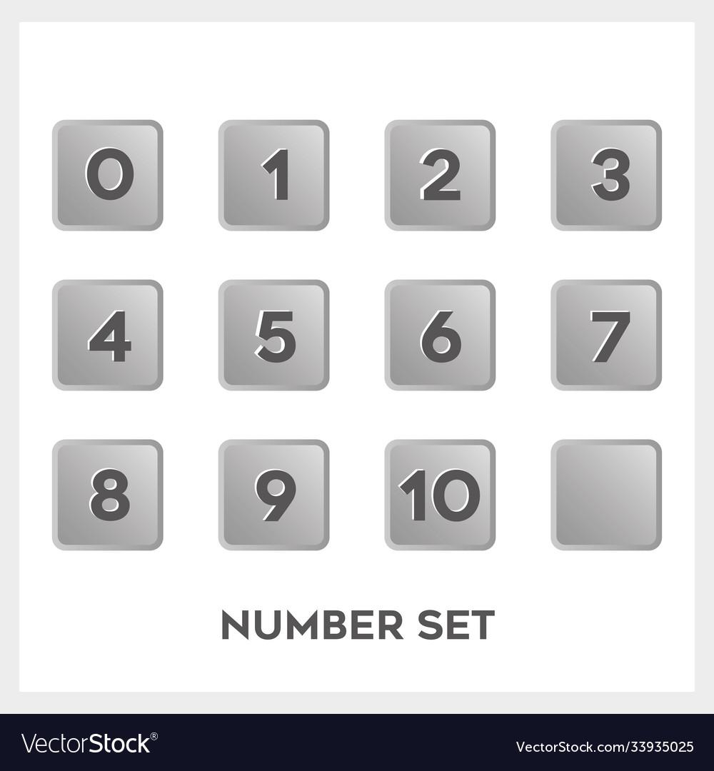 Set black number in gradient gray square shape
