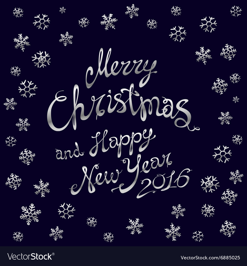 Template silver glowing Merry Christmas silver vector image