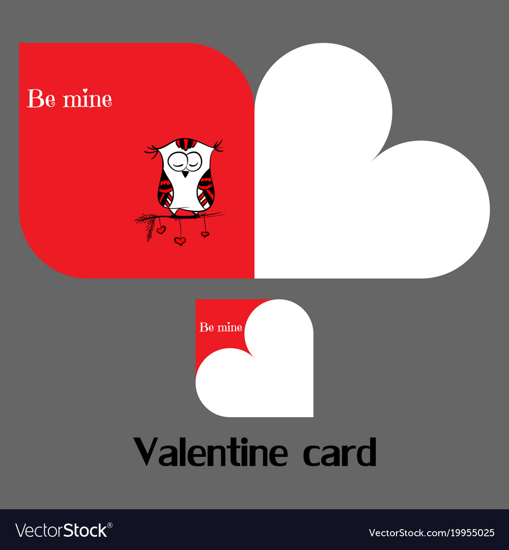 Valentine card with owl vector image