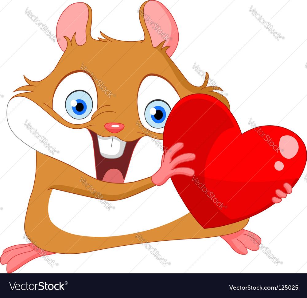 Valentine's hamster vector image