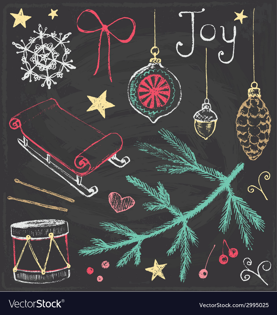Vintage Christmas Chalkboard Hand Drawn Set 4